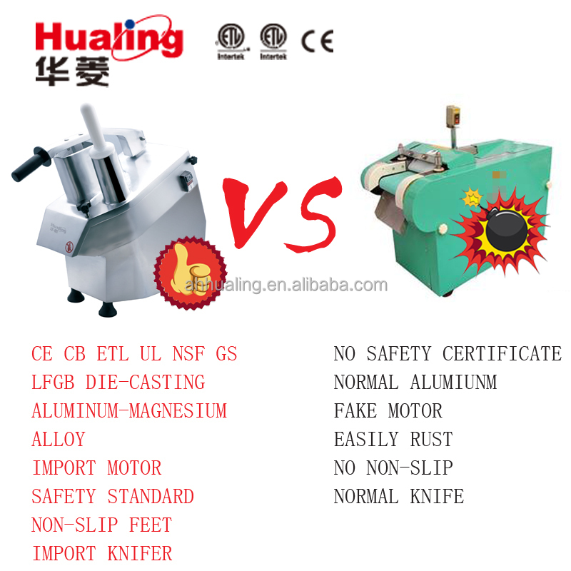 Vegetable cutting machine with CE & ETL certifications