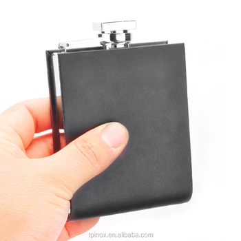Portable Hip Flask U Shape Genuine Leather 304 Stainless Steel 5oz Hip Flask