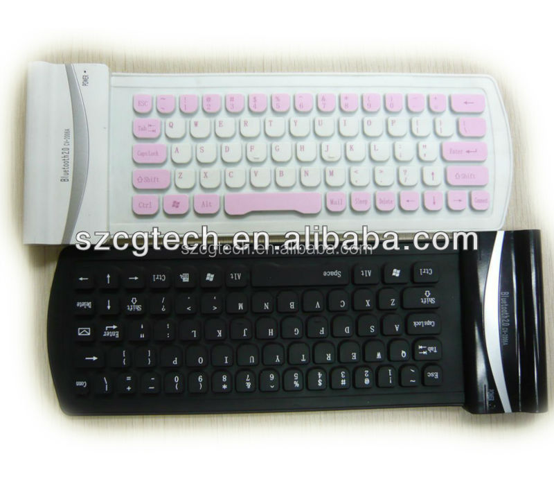 CE/FCC/RoHS silicone material Bluetooth flexible waterproof keyboard.