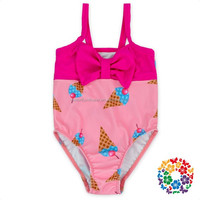 sleeveless one piece swim wear toddler ice cream bathing suit with bow