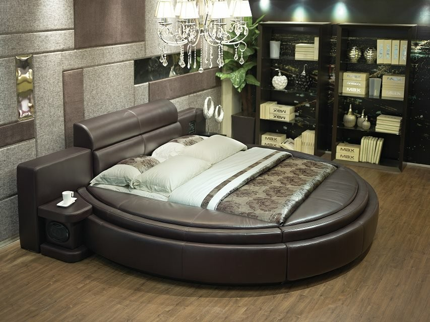 modern bedroom leather PU PVC bed