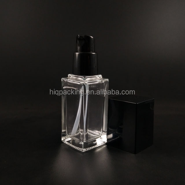 luxury square clear 50ml 30ml glass foundation bottle 2oz lotion serum 30 ml cosmetic bottle with pump