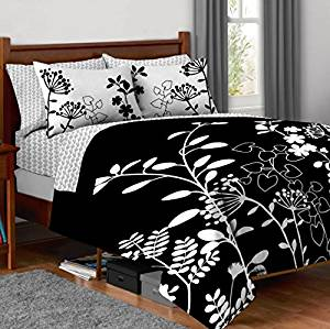 Cheap white flower bedding find white flower bedding deals on line get quotations 7 piece girls white black botanica themed comforter queen set with sheets tropical theme bedding mightylinksfo