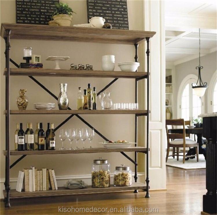 Whole Antique Wrought Iron Shelf Restoring High Grade Multilayer Solid Wood Bookshelf