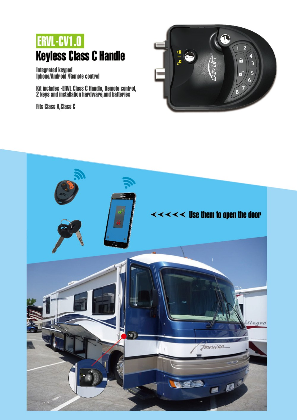 Caravan Door Lock, Motorhome Door Lock Rv Lock, with Keypad & Remote Control
