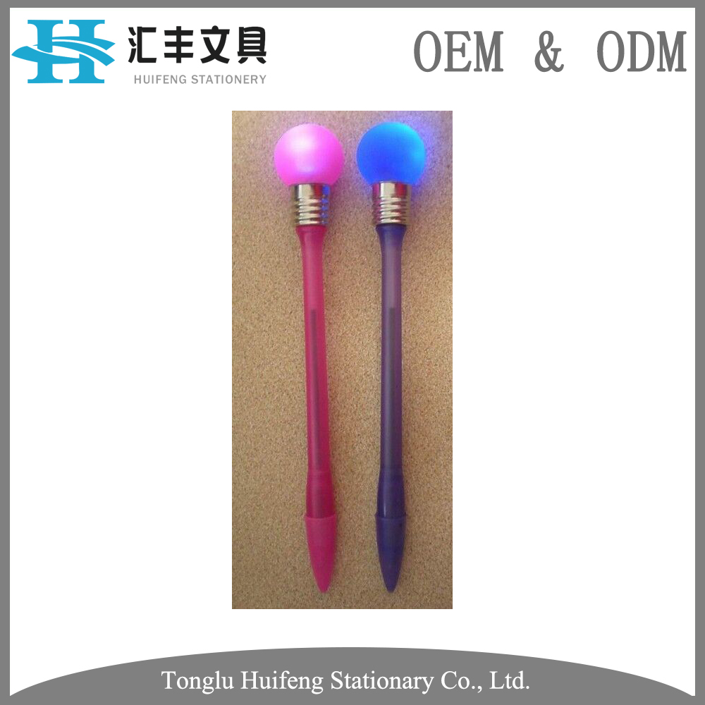 HF800 novetly design customized logo led light plastic ballpoint pen