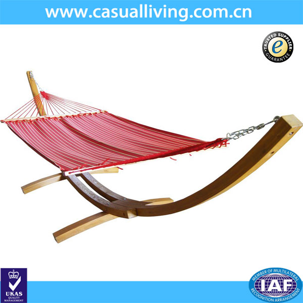 Outdoor Patio Wooden Curved Arc Hammock Stand With Cotton Hammock ...