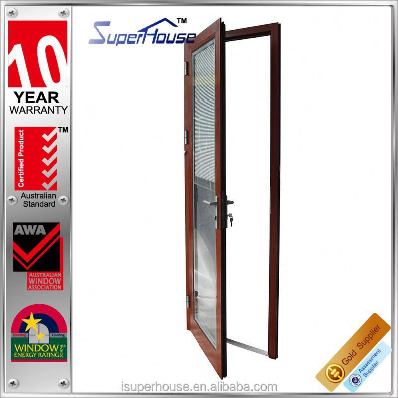 Superhouse New arrival wood grain aluminium alloy hinge glass door with tempered glass