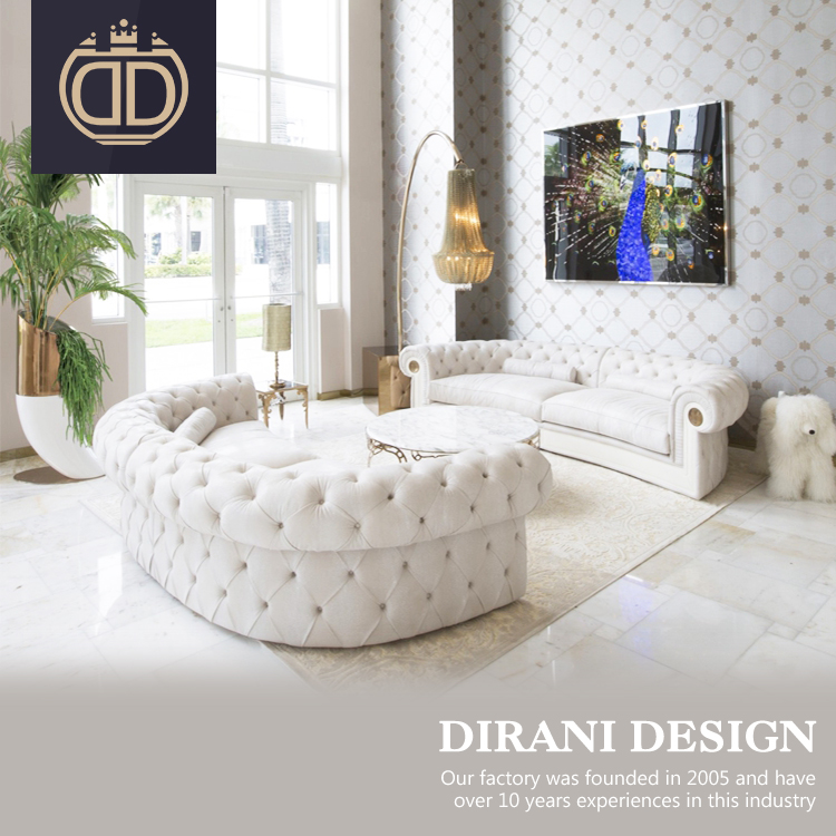 इतालवी डिजाइन सफेद मखमल कमरे में रहने वाले गुच्छेदार सोफा सेट अनुकूलित पोस्ट आधुनिक chesterfield सोफे कपड़े बटन गुच्छेदार सोफे