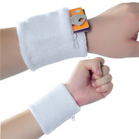 Promotional embroidered fabric sweatband with zipper pocket