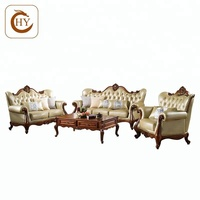 Cheaper And Fine Antique Display Living Room Sofa Sets with Top Cow Leather