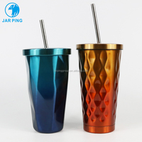 Promotion personalised reusable double wall coffee cup /thermos flask stainless steel vacuum cup JP-5002-11