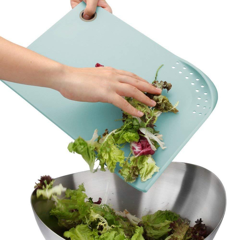 PortoFino Cut & Drain Cutting Board - Chopping Board | 22 Draining Eyelets | Non-Slip Silicone Feet | Hanging Loop | Light Weight & Durable | Food Grade Plastic | BPA Free | Kitchen Prep Accessories