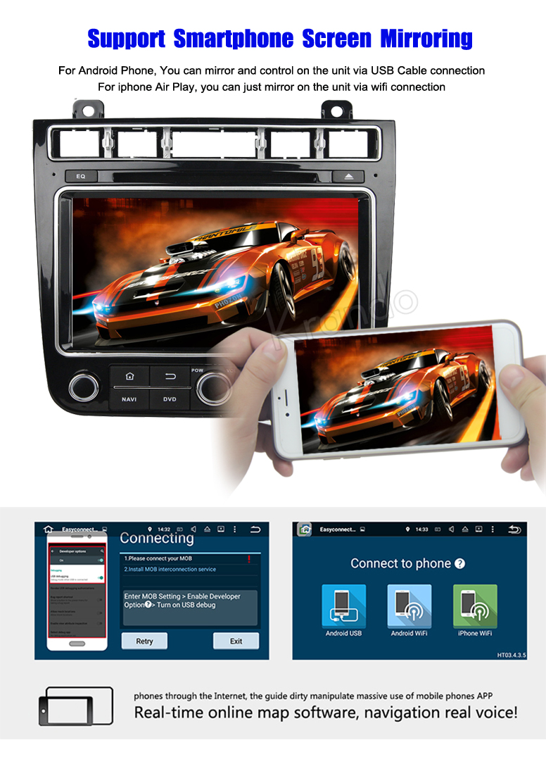 "Krando Android 7.1 8"" car navigation dvd player for VW Touareg 2015+ car gps multimedia system 4G wifi playstore KD-VW815"