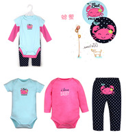 Wholesale baby clothes 3 piece newborn baby clothing sets baby embroidered short sleeve bodysuit