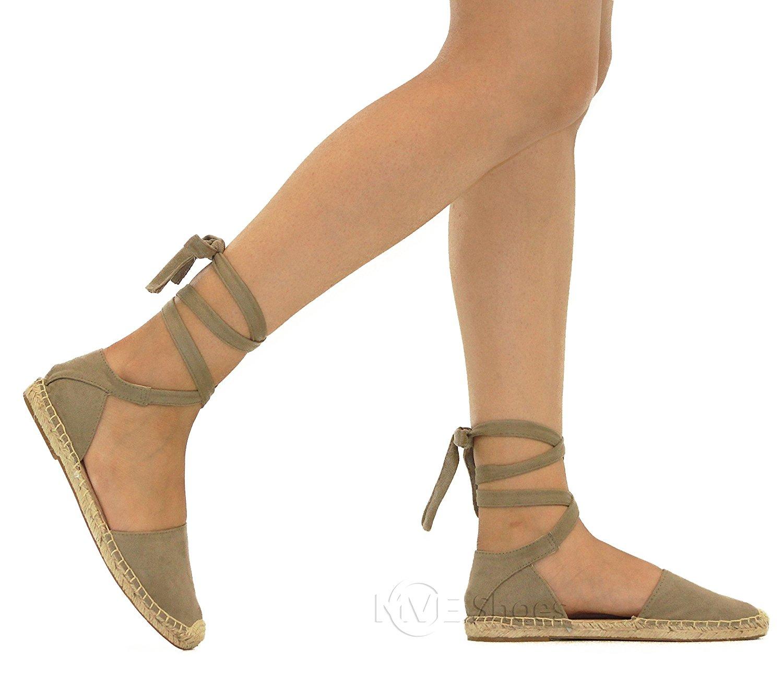 18916fc253d Get Quotations · MVE Shoes Women s Lace up Sandals - Faux Leather Cute  Summer Sandals -Wrap Gladiator Flat