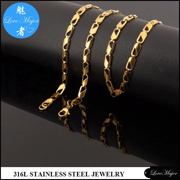 moda de acero inoxidable chapado en oro collar de la joyera diseo camarn cadena para mujeres