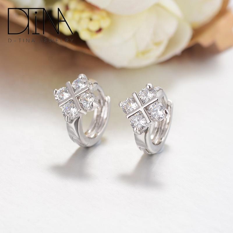 DTINA Pure Love Earrings Crystal Zircon Earrings, Platinum