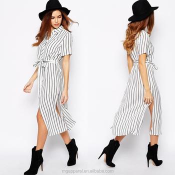 b5e38c43dafec8 Großhandel Mode Frauen Weiß Streifen Kleid Mode Sommerkleid 2016 ...