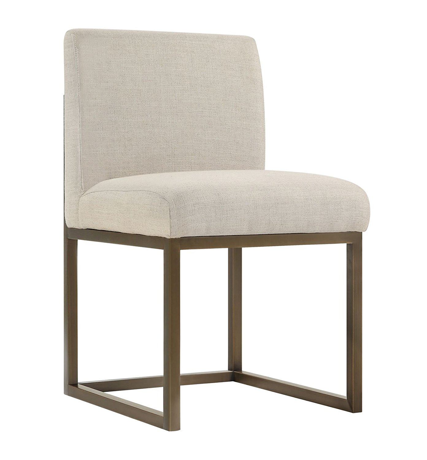 Tov Furniture The Haute Collection Modern Linen Fabric Upholstered Bronze Finish Stainless Steel Metal Dining Chair, Beige