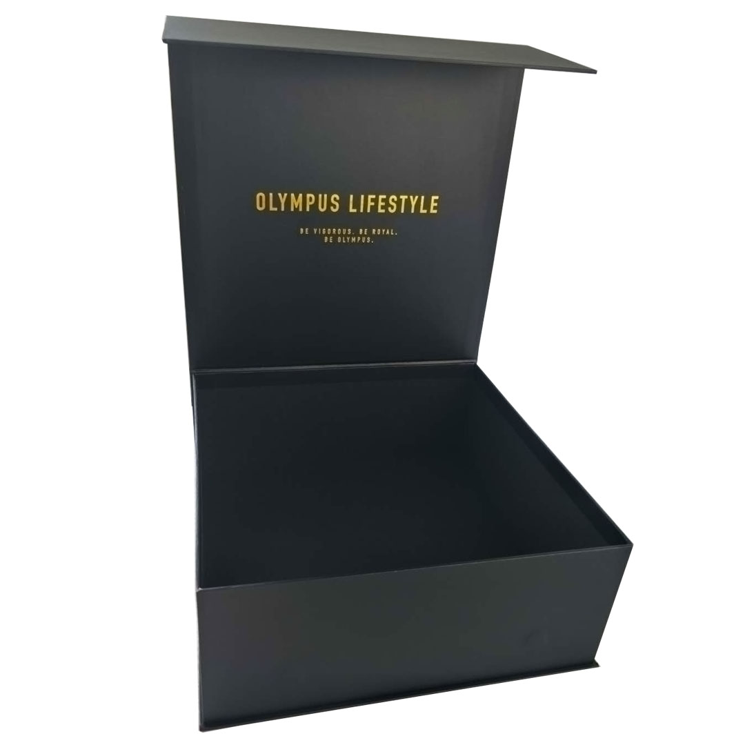 Wholesale luxury printed logo black cardboard fancy gift packing box