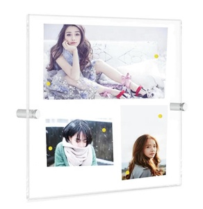 Clear Acrylic Wall Mount Picture Frames, A3 Size Floating Frameless Photo Frame for Certificate Poster Display-Double Panel