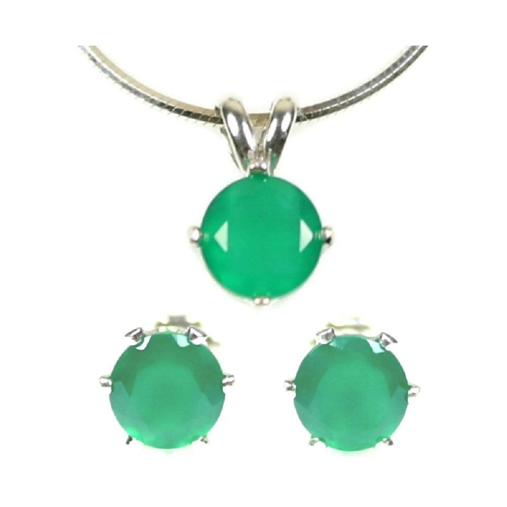 Emerald Green Onyx Jewelry Set Earrings and Necklace 925 Sterling Silver 6MM Round Studs and 6MM Round Pendant with 18, 20 or 24 Inch Chain Bright Green Faceted Real Gemstones May Birthstone