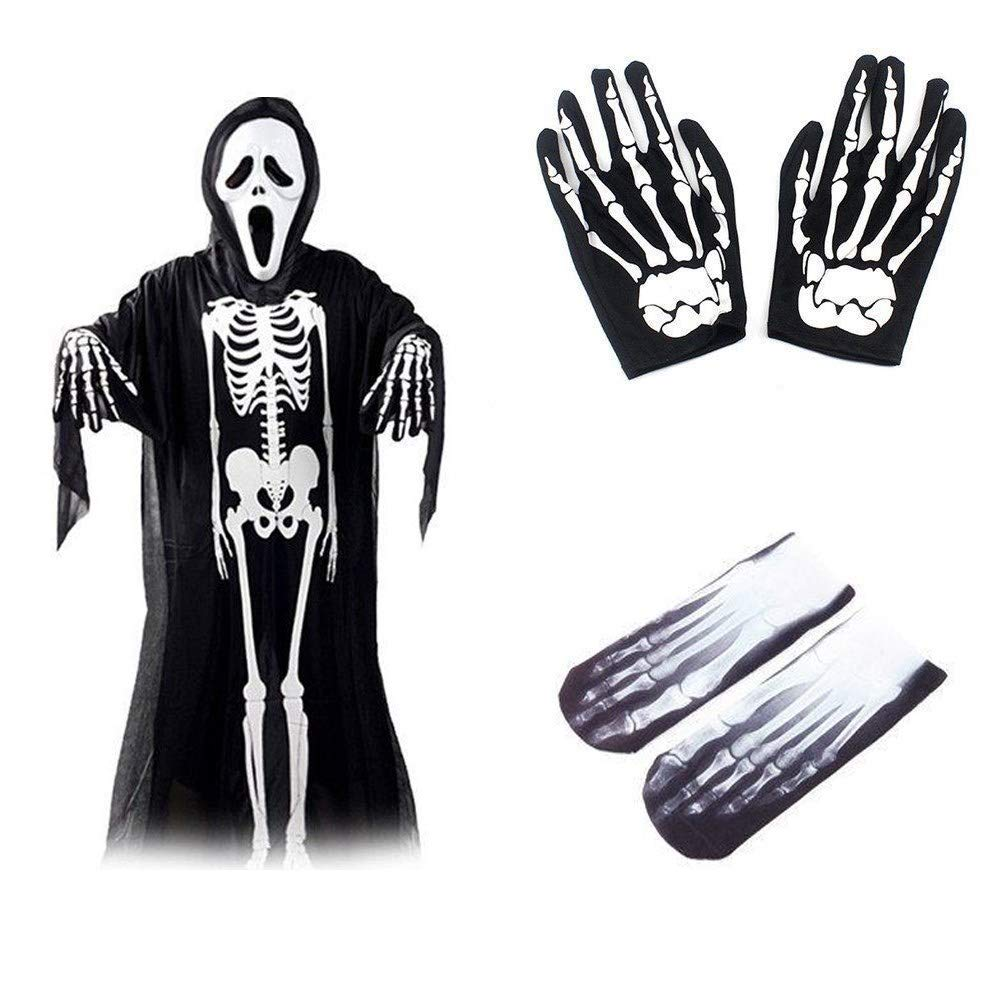 Halloween Party Prop Skull Skeleton Ghost Clothes+Screaming Ghost Mask +Gloves Masquerade Costume Cosplay Props Decoration Set for Adults (Black)
