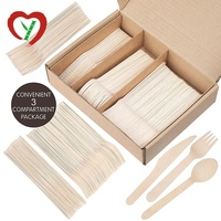 Wooden Disposable Cutlery 200 pc set: 100 Forks, 50 Spoons, 50 Knives