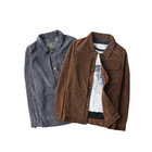 Fashion men plain corduroy jacket turn down collar casual jacket for men