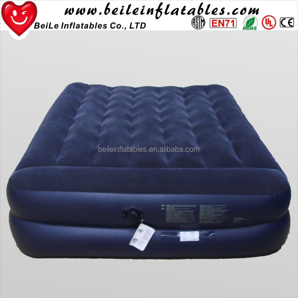 Deluxe Blue flocking inflatable air <strong>bed</strong> with pump for sales