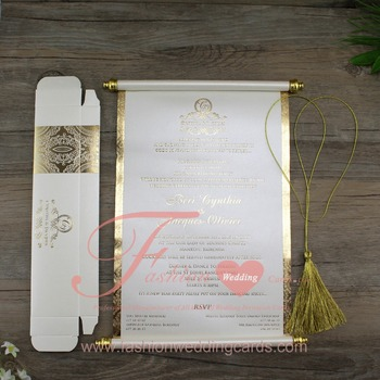 customized chinese luxury paper scroll wedding invitations cards on