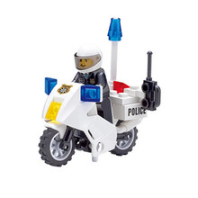 30pcs set Patrol Police Motorcycle DIY Building Blocks Toys Kit Children Educational Birthday Christmas Gifts