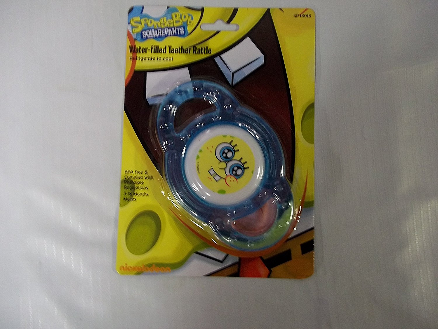 Sponge bob water filled teething ring and Rattle (blue)