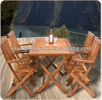 Wooden Garden Dining Table Chair Set Folding Balcony Furniture Table ...