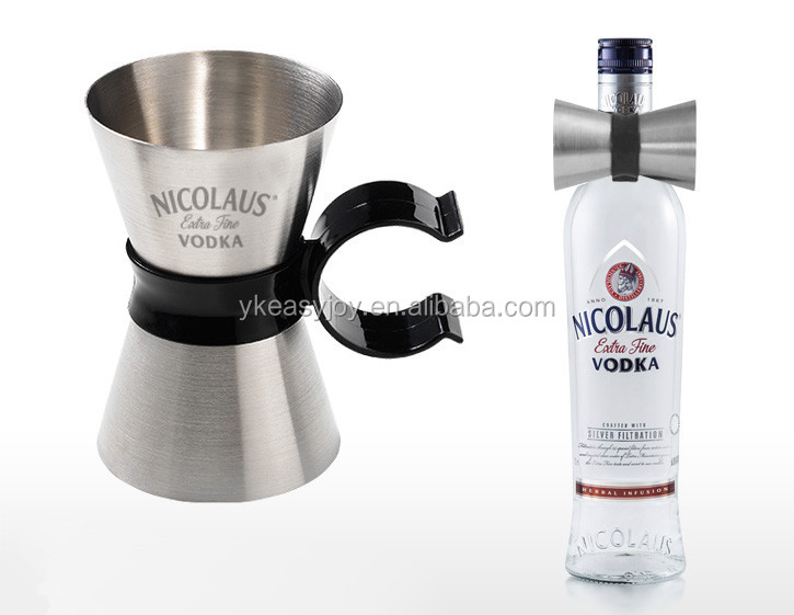 Unique Stainless Steel Cocktail Double Jigger+Customized Measurement Laser Engraved Logo Marks+Black Plastic Bottle Neck Clip