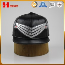 Black leather winter cap leather snapback custom