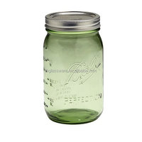 Ball 32 oz Green Glass mason Wide Mouth Canning Jars with Silver Vacuum Seal Lid