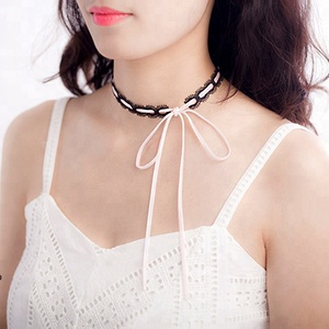 Dainty Pink Long Lariat Wrap Suede Bow Tie Choker Lace Collar Necklace