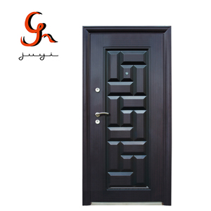 JY-S042  Black Color Power Coating Surface Finish Steel Security Door With Second Lock