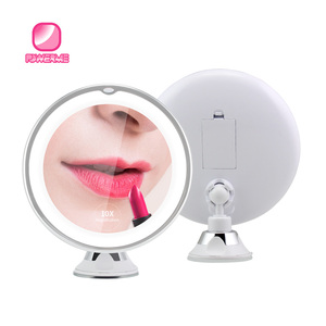 Led light magnifying shaving mirror suction cup light round makeup mirror