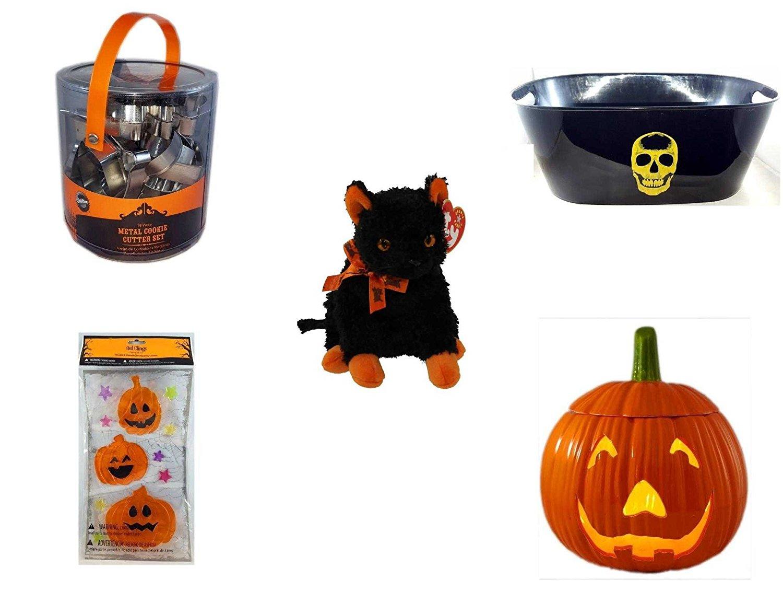 "Halloween Fun Gift Bundle [5 piece] - Wilton Halloween Metal Cookie 18-Piece Cutter Set - Black With Skeleton Oval Party Tub - Ty Beanie Baby""Fraidy"" The Black & Orange Cat - Gel Clings Pumpkins, St"