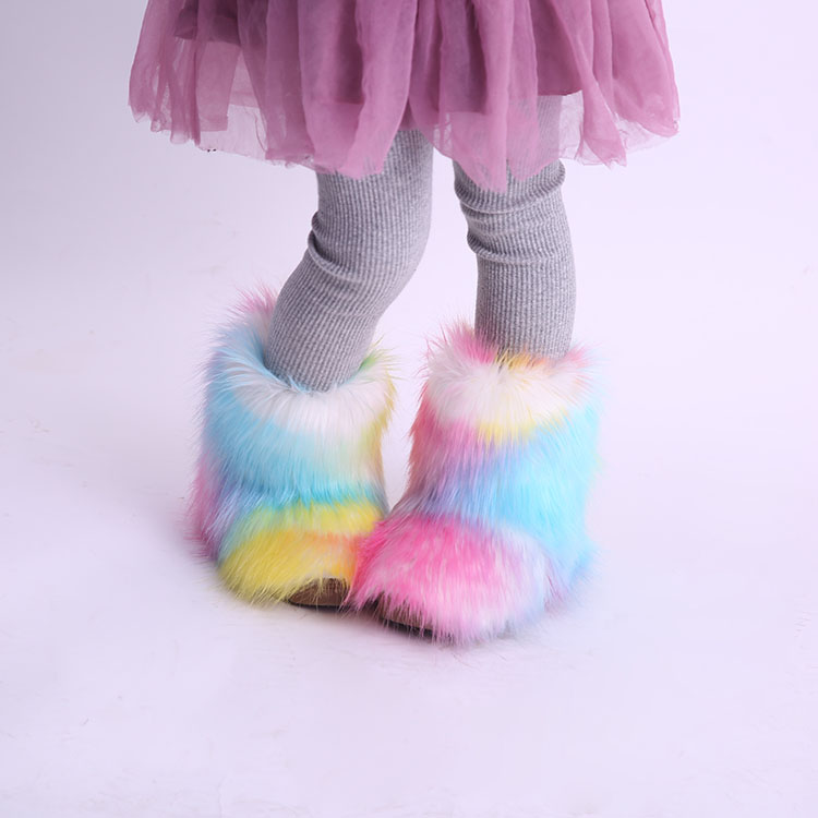 wholesale multi color black winter baby snow faux fur boots for kid