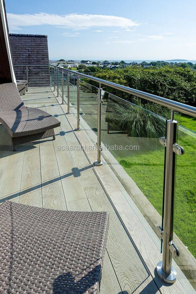 SS304 glass handrail support brackets balcony railing with 12mm glass