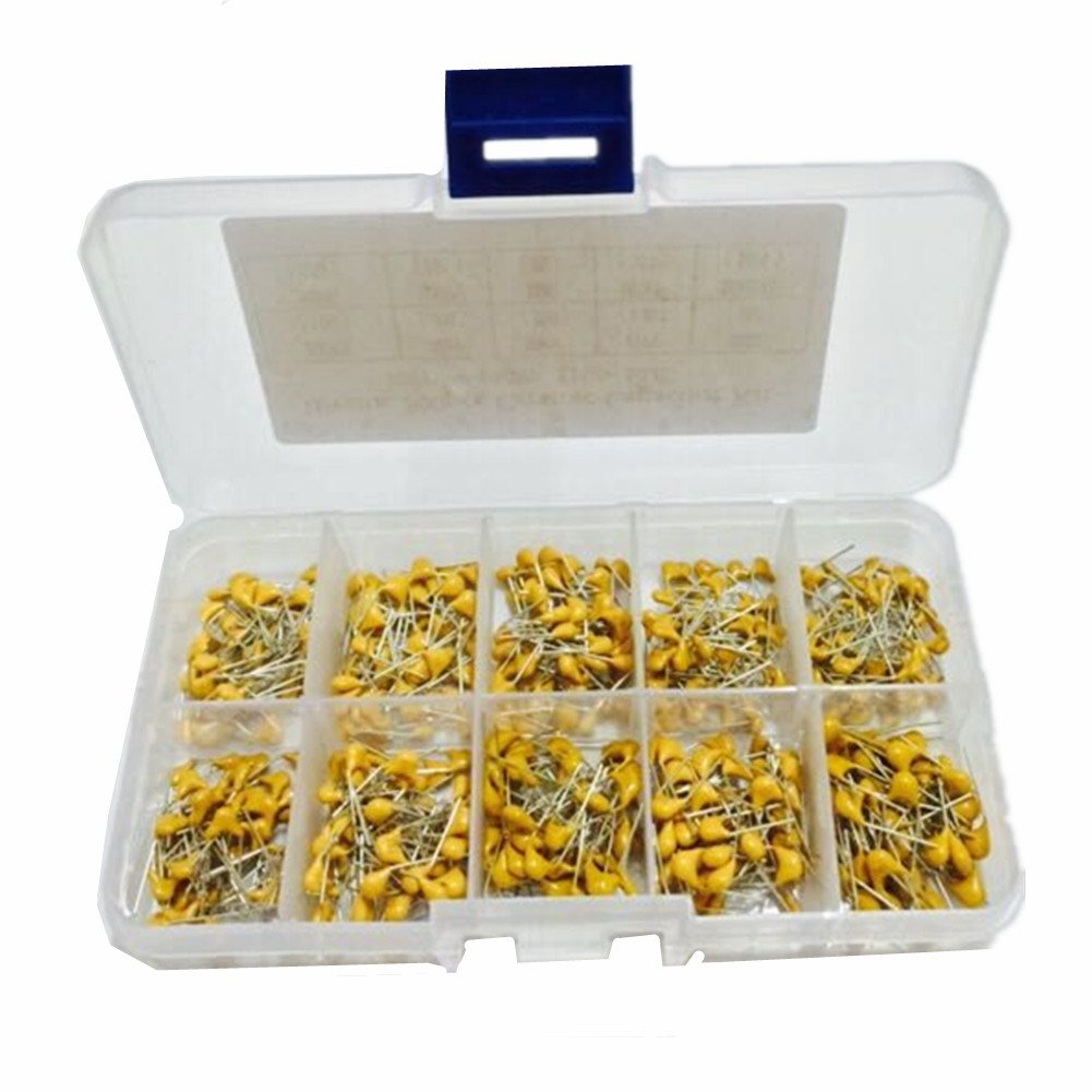 1 Ltvystore 300PCS 10Values 10PF~100NF Multilayer Monolithic Ceramic Capacitor Assorted kit with Clear Box