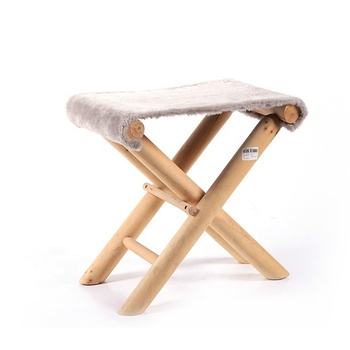 Easily Portable Modern Fashion Velvet Fabric Cross Leg Wood Small Foldable Foot Stools Folding Stool