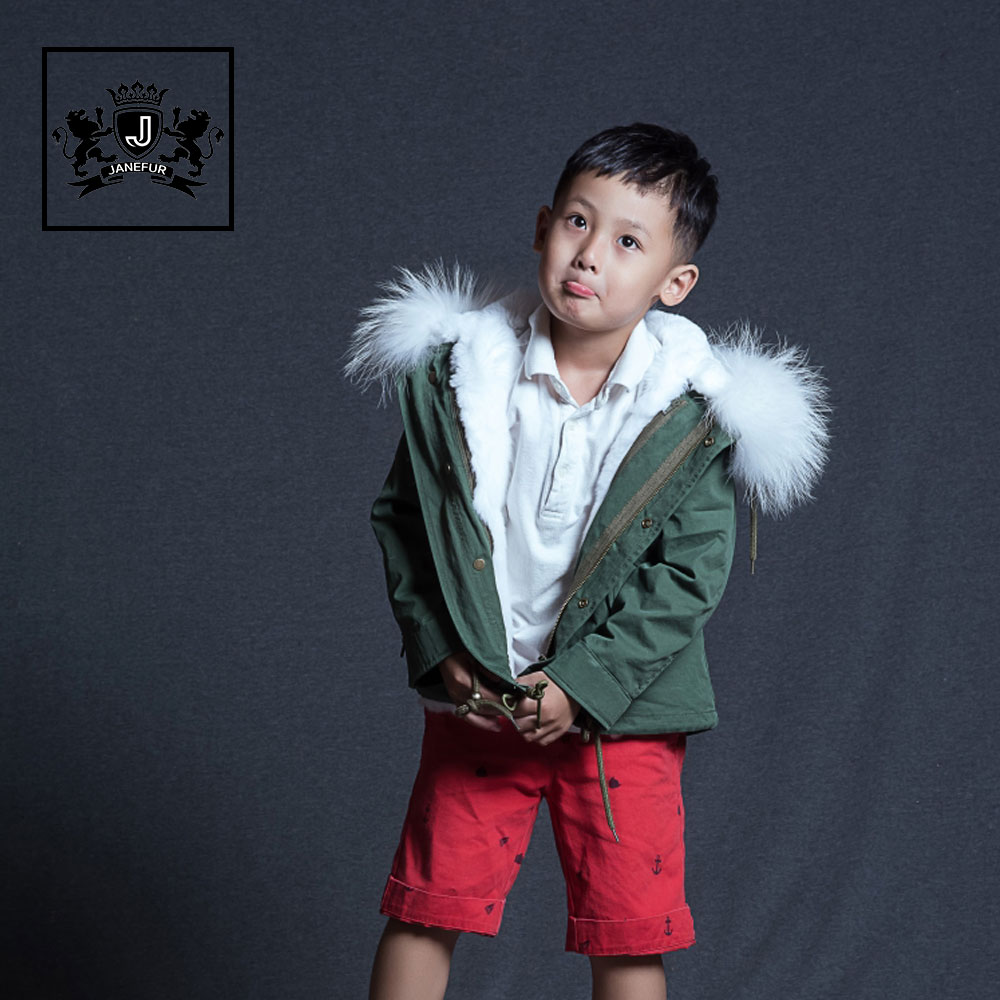Hot Lovely Kids Fur Parka With Genuine Raccoon Fur Hood Popular Faux Fur Lining Coat for Child