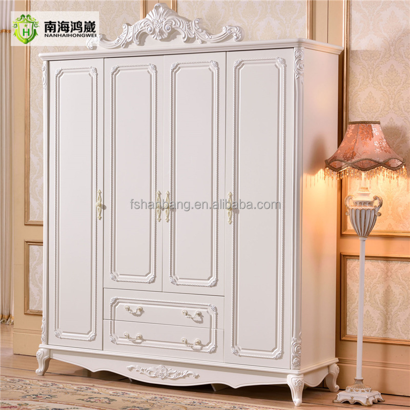 French Baroque Style Hand Carved Design 4 Door Ivory White Mdf