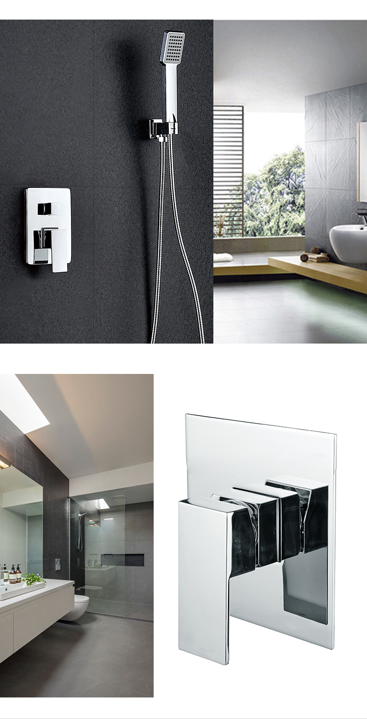 High grade square polished shower sets wall mounted concealed shower set