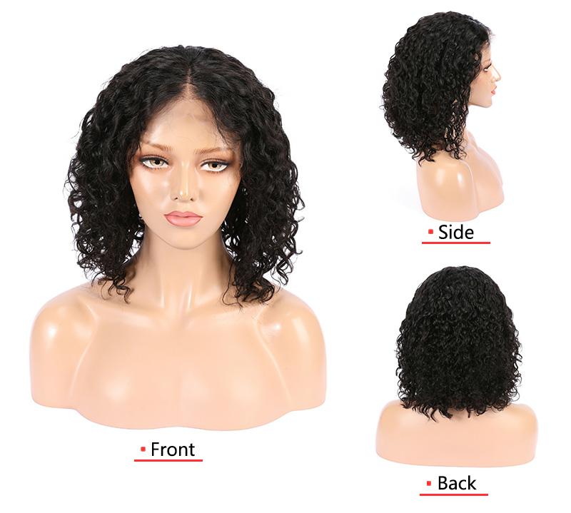 Factory supply density 110% cheap curly raw human hair lace wig